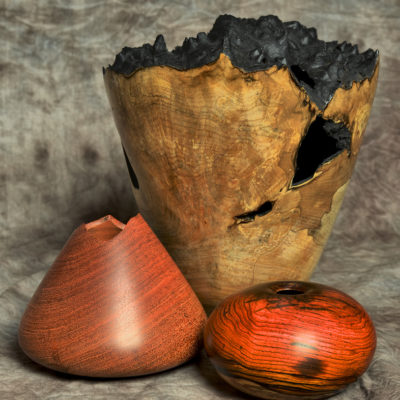 Trio of Enclosed Vessels (narra, maple, cocobolo)